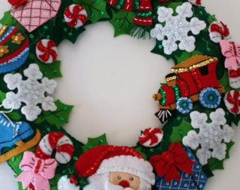 Christmas Wreath - Handmade Embroidery and Applique - Decorative Sequins and Beading - Santa Frosty Ice Skate Ornament Snowflake Candy Cane