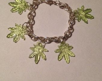 Marijuana Pot Leaf Charm Bracelet