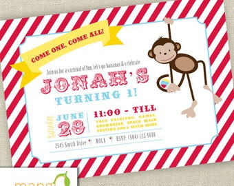 Circus Monkey Birthday Invitation Printable