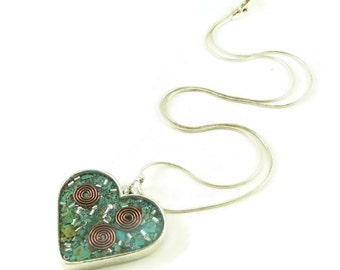 Orgone Energy Pendant - Heart with Turquoise Gemstone - Heart Necklace - Turquoise Necklace - Artisan Jewelry