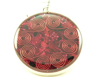 Orgone Energy Pendant - Double Sided Open Pendant in Silver with Red Garnet - Quartz Crystal - Energy Jewelry - Artisan Jewelry
