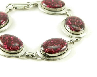 Orgone Energy Oval Link Bracelet in Antiqued Silver with Red Garnet Gemstone - Artisan Jewelry - Orgone Energy Jewelry