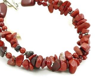 Red Jasper Bracelet - Chunky Bracelet - Gemstone Bracelet - Multi Strand Bracelet - Sterling Silver - Artisan Jewelry