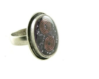Orgone Energy Ring with Purple Amethyst - Framed Oval Cocktail Ring - Adjustable Ring - Orgone Energy Jewelry - Artisan Jewelry