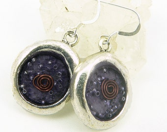 Orgone Energy Earrings - Wax Seal Look Earrings - Dangle Earrings - Amethyst Gemstone - Artisan Jewelry