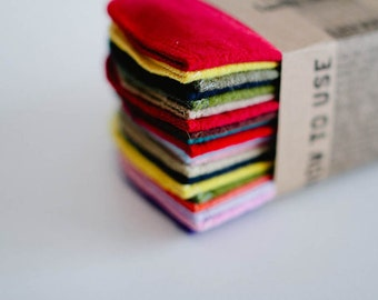 Gender Neutral Mixed Color Set Baby Wipes Cloth Wipes  Baby Wipes - Reusable Flannel Wipes -- Single Layer Wipes