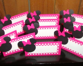 Minnie Mouse Birthday  Pink Polka dot Food tent place cards - set of 12 Minnie Mouse Birthday