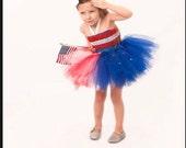 4th of July Patriotic tutu dress with matching headband.