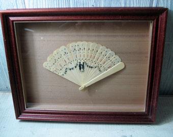 Vintage Framed Child's Celluloid Fan