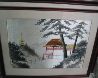 1920's Japanese embroidered silk painting