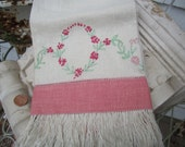 Handmade Embroidered Linen Fringed Dish Towel in Deep Pinks with Vintage 20s