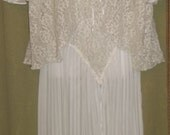 2 PC Pauline's Trousseau Vintage Lace Wedding Lingerie/ Romantic Negligee SZ sm