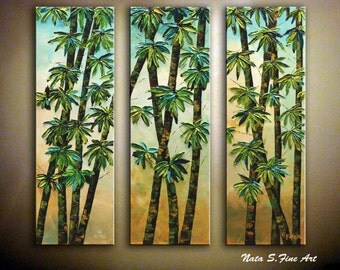 """Modern Bamboo Painting Abstract Textured Artwork Triptych Palette Knife Teal Green Large Artwork 30"""" x 30"""" Interior Decor  by Nata S."""