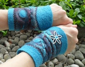 Fingerless Gloves Felted Cuffs Wool Felt Wrist Warmers Fingerless Mittens Handmade Gauntlets Bracelet
