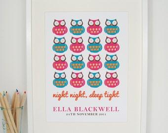 Personalised Children's Owls Print