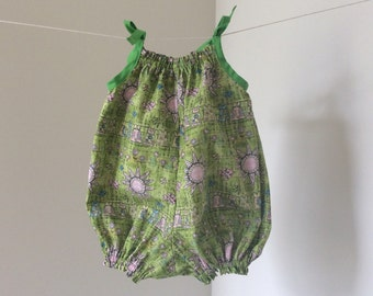 Lime green romper or playsuit, bubble suit, sunsuit, baby romper size 0 6-12 months baby clothing, pink and green summer toddler pillowcase