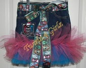 Monster High - Where Freak Just Got Fabulous - Denim Tutu Skirt with the Monster High embroidered patch and matching ribbon