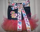 Friendship is Magic - Denim Tutu Skirt with the My Little Pony Shutterfly embroidered patch and matching ribbon