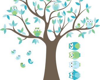 CUSTOM Kids tree decal- Nursery wall decals- Vinyl wall decal- Owl tree decal- 5 Free owls