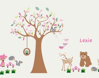 tree decal, vinyl wall decal, tree branch, nursery decal, forest animals, bear, fox, deer, owl tree