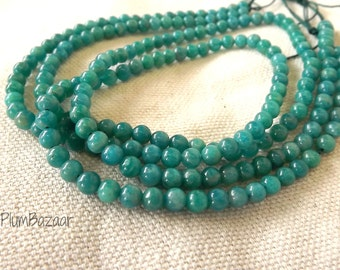 Round spacer beads, Russian amazonite, 4mm round, teal blue color