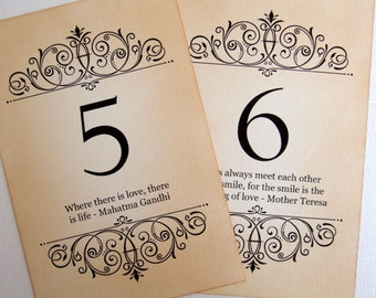 Love Quote Wedding Table Numbers, Vintage Quotes Table Numbers, Love Quote Wedding Table Signs, Love Quote Table Signage, Matching Items
