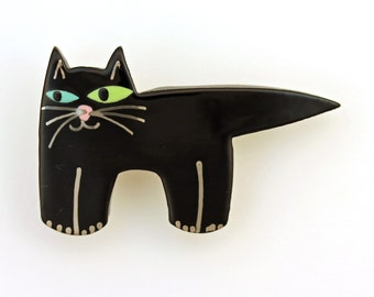 Black Cat Pin Cat Brooch Ceramic By Sean Brown