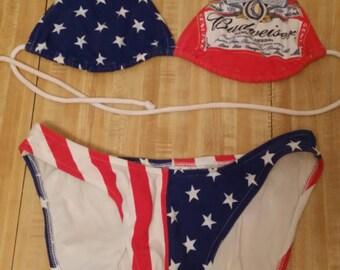 Budweiser Beer Vintage Bathing Suit Bikini Swimsuit