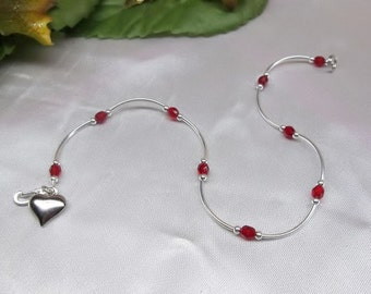 Silver Heart Ankle Bracelet Ruby Anklet Red Anklet Red Crystal Ankle Bracelet Silver Anklet 925 Sterling Silver or Plate BuyAny3+Get1 Free