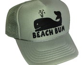 Toddler Kid's Gray Beach Bum Whale  Snapback Mesh Trucker Hat Cap