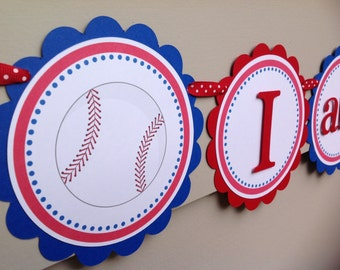 Little Slugger Baseball I am 1 High Chair Banner Royal Blue and Red First Birthday Party Banner