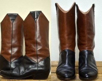 80s Riding Boots Two Tone Black and Brown Italian Boots, Womens 6.5 or 37 Italian