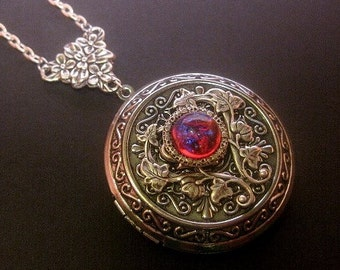 Large Dragons Breath Locket Necklace - Fire Opal - Photo Keepsake Jewelry - Custom Length Chain - Christmas Gift