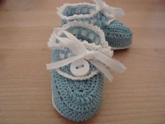 SALE--Blue Handmade Crochet Booties/ Sandals for baby 0-3 months--SALE