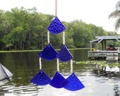Stained Glass Windchime, Cobalt Blue Wind Chime, Stained Glass Chime, Glass Yard Art, Garden Decor, Original Home Decor, Window Treatment