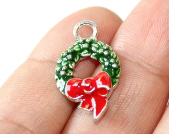 2 Holiday Wreath Enamel Silver Plated Charms - EN110