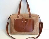 UNİSEX TAN WAXED Canvas Weekender Bag  - Leather Single Strap Shoulder bag / Tote Bag / Diaper Bag