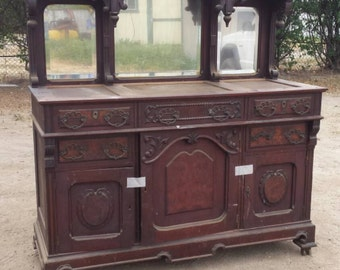 Antique Victorian Marble Top Sideboard