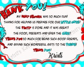 Thing 1 and Thing 2 Twins Thank You Card - Digital Custom Card - You print