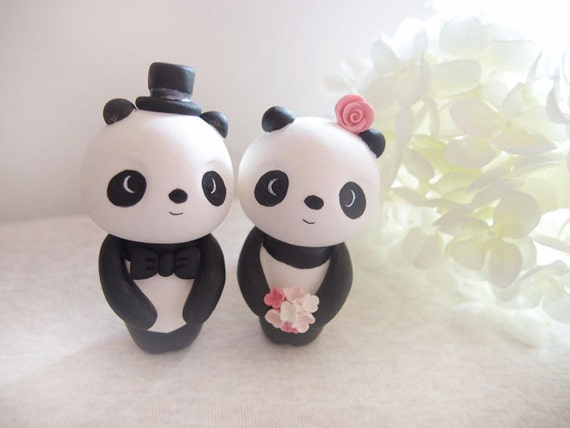 custom wedding cake toppers love panda by bobobabe on etsy