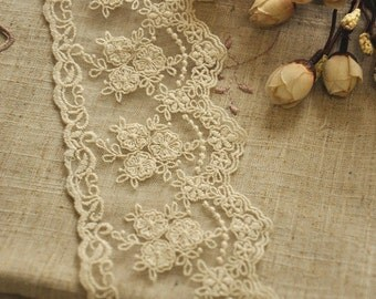Cotton Lace Fabric Trim - Retro Beige Floral Flower Scallop Net Lace Fabric Cloth TRIM 3.5 Inches