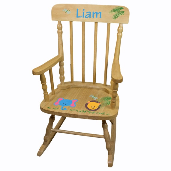 ... Chair - Childrens Natrual Wood Rocker Kids Spindal Rockers Custom