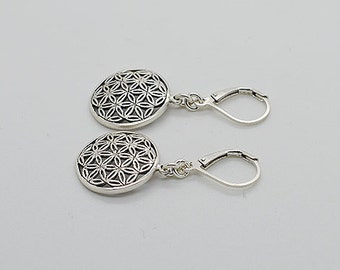 Circle Shape Sterling Silver Earrings With Lever Back 01a