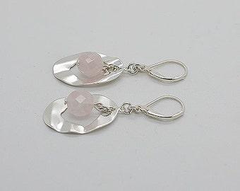 Genuine Rose Quartz Lever Back Earrings 18