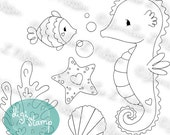 Ocean Friends Set 1 - digital stamp digistamp JPG PNG - seahorse fish shells line art for crafting