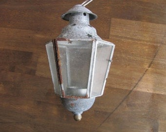 Vintage Aluminum And Glass Hanging Lantern / Candle Holder