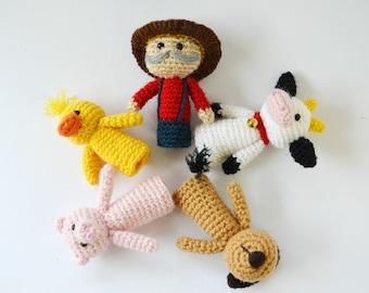 Old MacDonald's farm, Old McDonald, crochet finger puppets, finger puppets, amigurumi, storytelling set, crochet farm animals