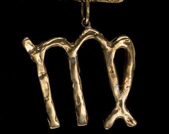 Virgo Brass Zodiac Pendant