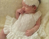Vintage Parley Ray White Eyelet Pinafore Dress with Ruffled Baby Bloomers/ Diaper Cover and Matching Bracelet/ Photo Props
