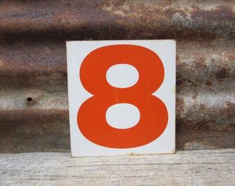 Vintage Sign Metal Number Sign Number 6 or 9 or 8 Sign Double Sided Gas Station Number Orange White Rusted Rustic Metal vtg Gas Station Sign
